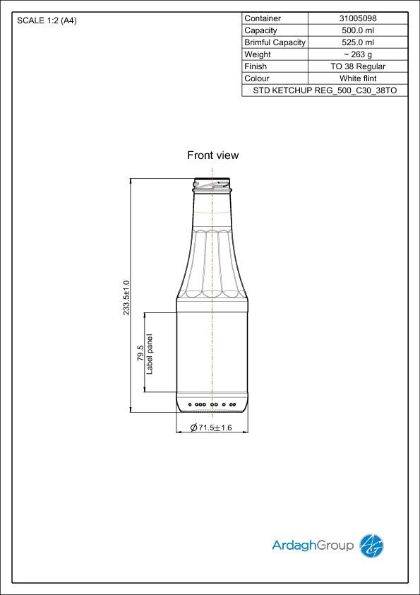 500ml Flint Glass Ketchup Food Bottle 31005098