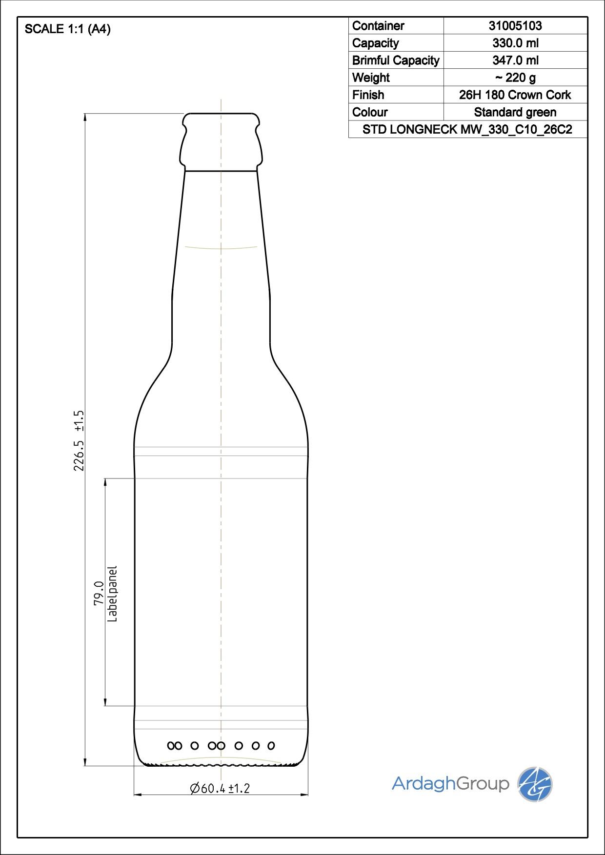 330ml green glass Longneck oneway beer bottle