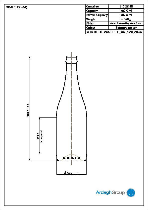 Standard Bierflasche 750ml