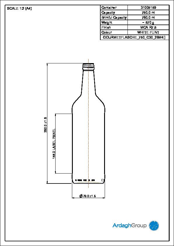 750ml Flint Glass Returnable NAB Bottle 31005159