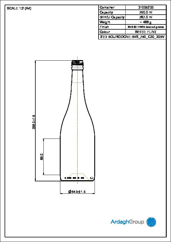 750ml Flint Glass Bourgogne Wine Bottle 31005233