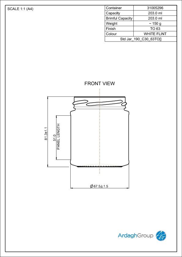 203ml Flint Glass Food Jar 31005296