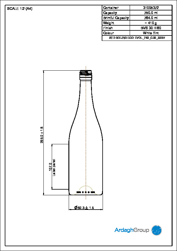 750ml Bourg Eco Evol - wine bottle white flint