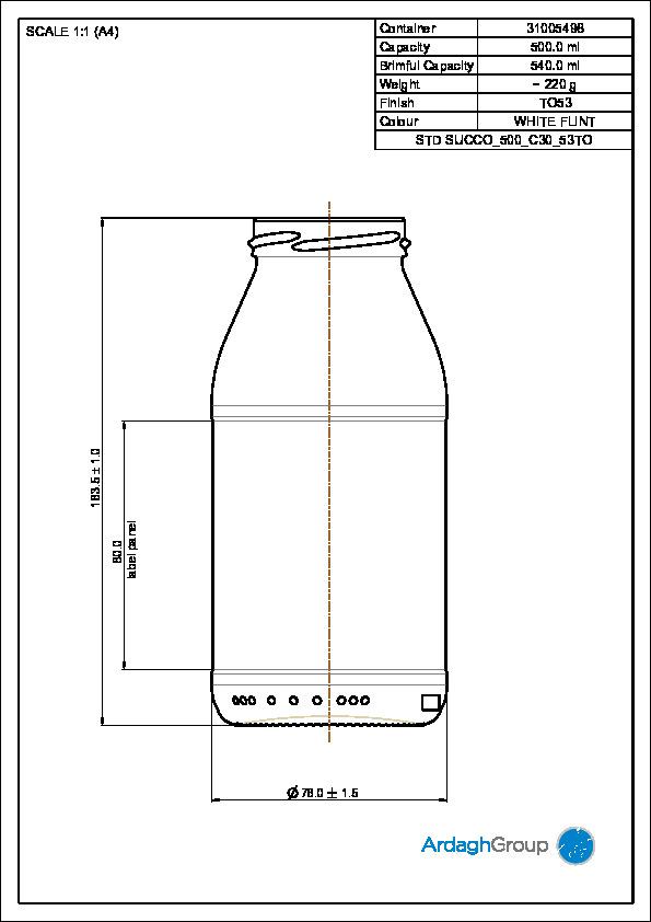 500ml flint glass Succo oneway food bottle